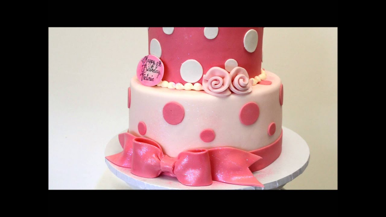 YouTube Premium & Pink and White Birthday cake - Birthday cake idea - 2 tier baby cake ...