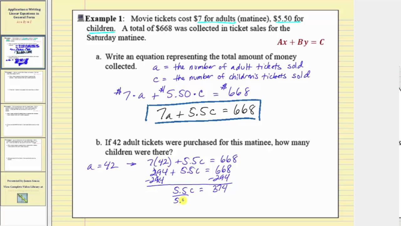 application writing linear equation in general form part 1