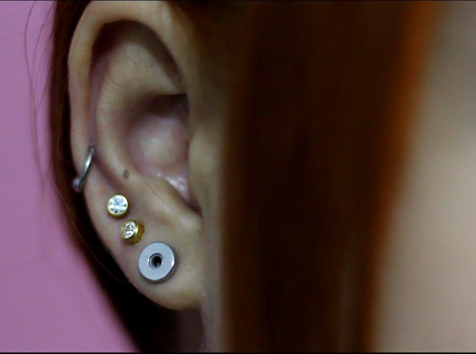 Conhecido Fazendo o 2º e 3º furo na orelha e piercing na cartilagem - YouTube FM64
