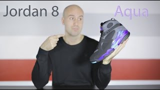 234b220c5fed Air Jordan 8 Aqua - Unboxing + Review + On feet + Close up - Mr