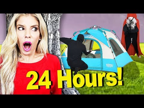 Surviving in the Woods for 24 Hour Overnight Challenge! (Hide and Seek from Hacker) | Rebecca Zamolo