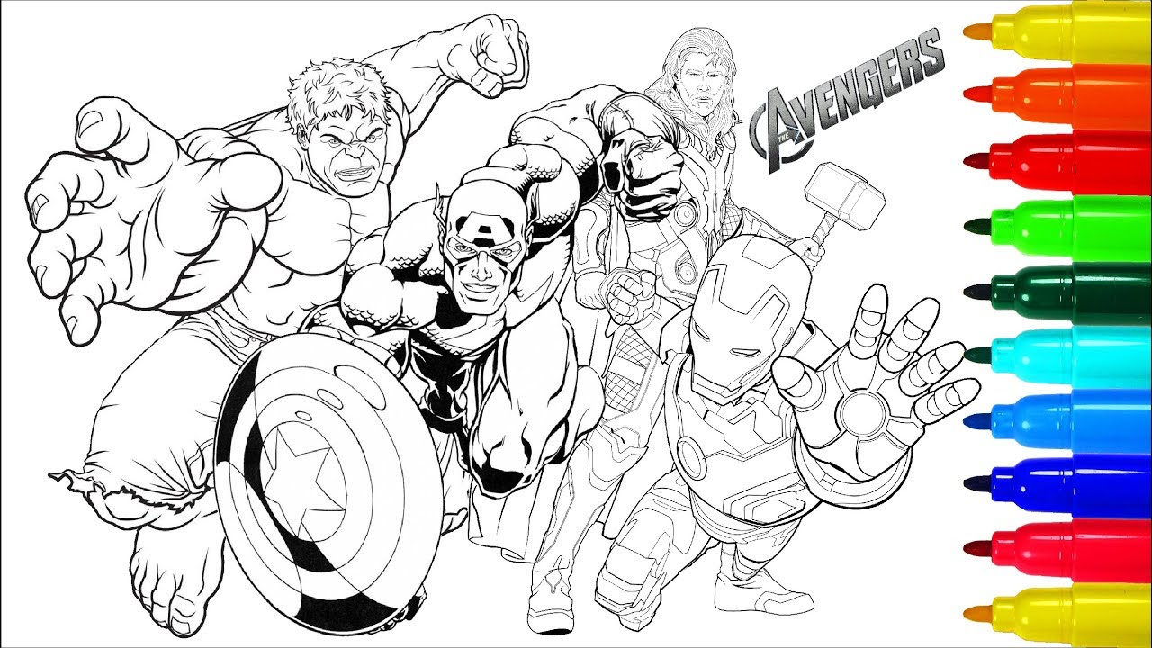 THE AVENGERS Coloring Pages | Coloring Painting Avengers Captain ...