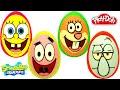 4 Huevos Sorpresa de Bob Esponja, Patricio Estrella, Arenita Mejillas y Calamardo Tentáculos PlayDoh