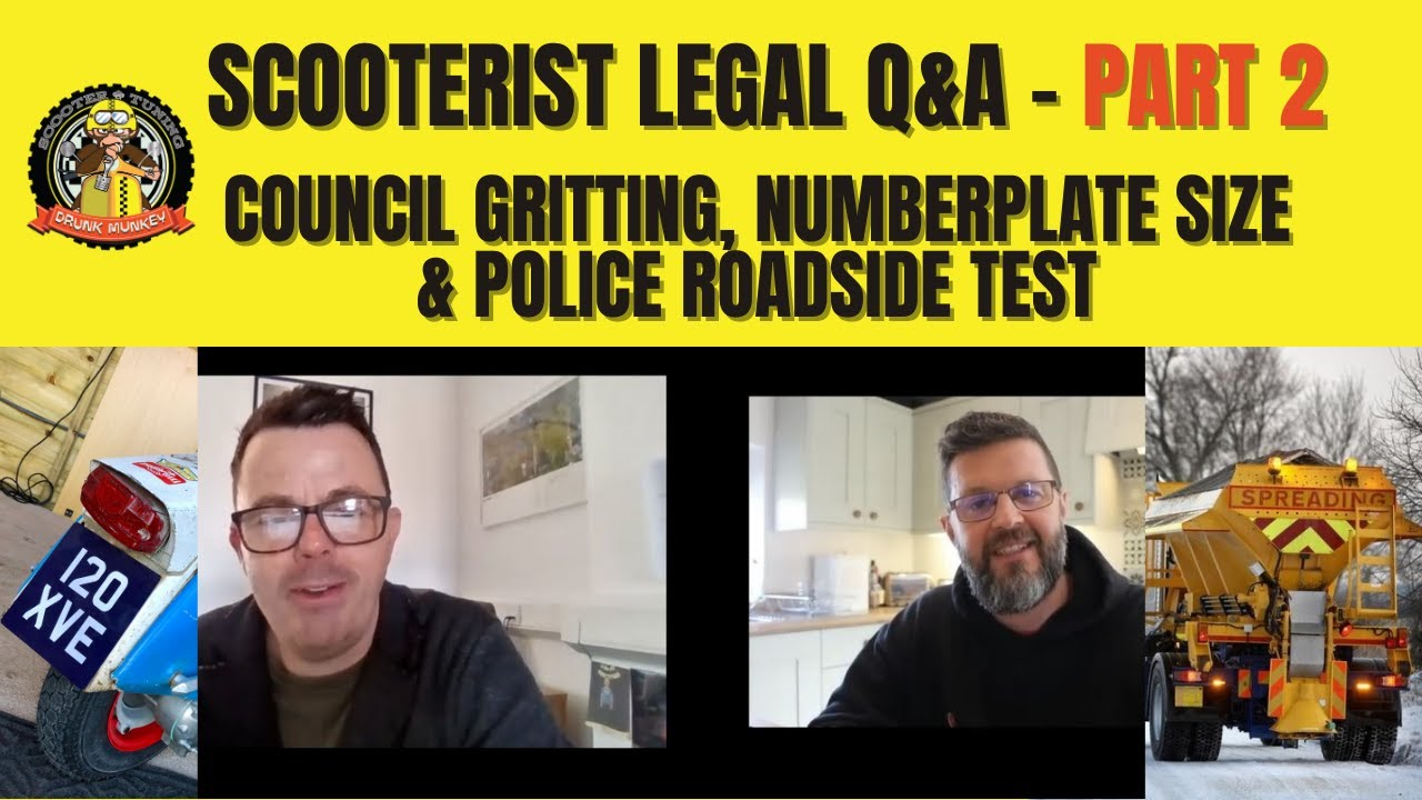 Scooterist Legal Q&A - Part 2: Council gritting, numberplate size, and police roadside test.