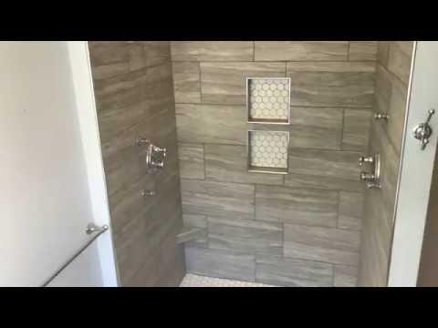 custom tile shower 12x24 walls hexagon floor permacolor select grout lifetime warranty