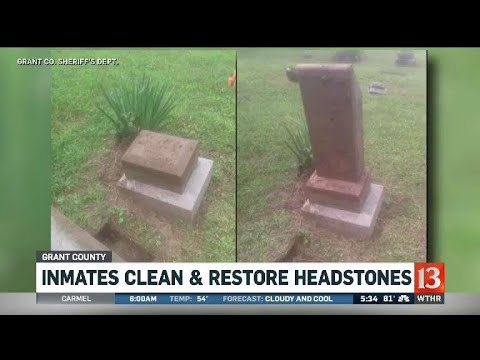 Inmates clean and restore headstones