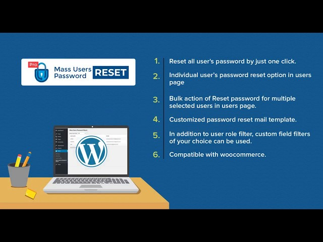 Mass User Password Reset  Pro – WordPress Plugin that enhance user security by one click