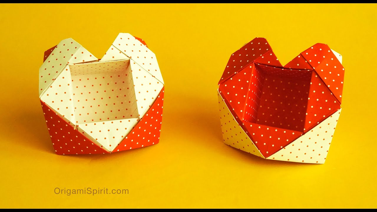 Step instructions how to make origami a heart box Vector Image | 720x1280