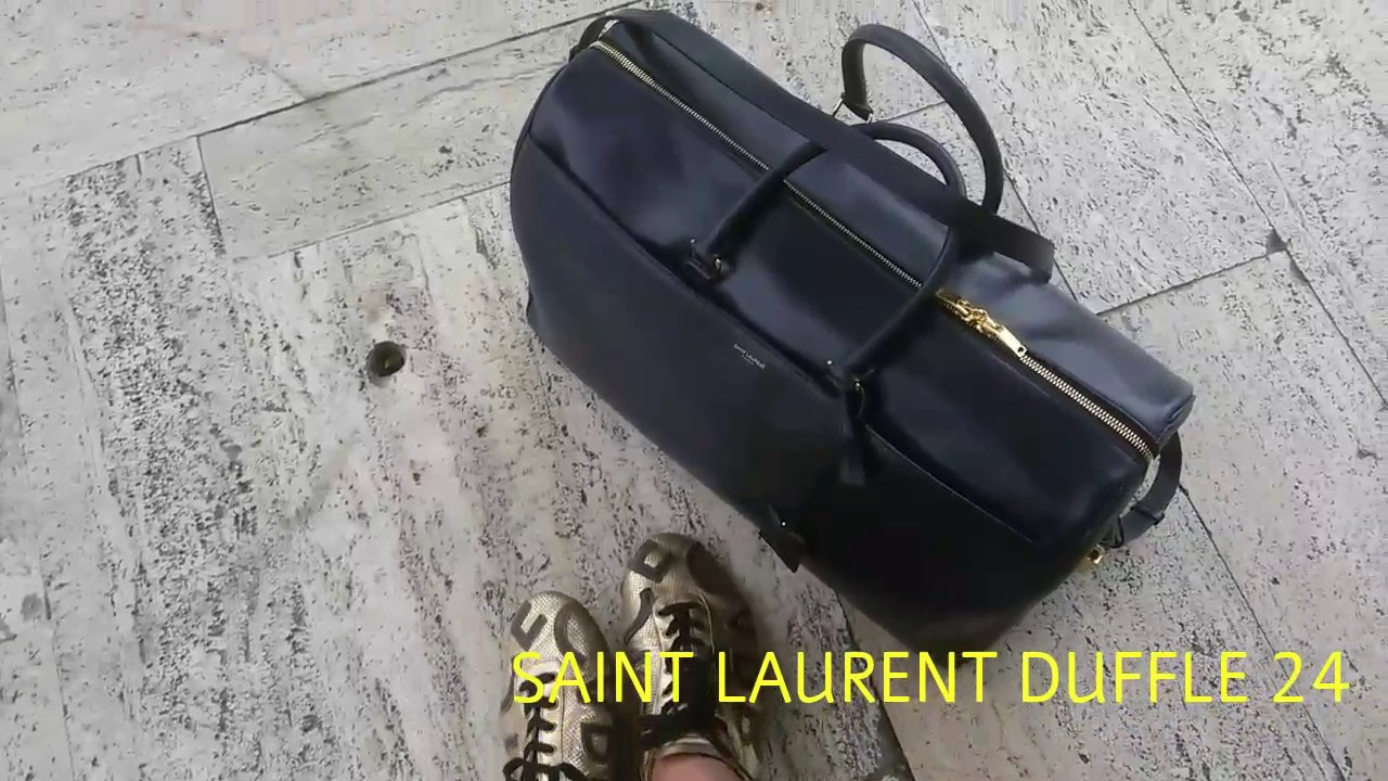 60c7fb5b4964 SAINT LAURENT DUFFLE 24 IN SMOOTH NAVY LEATHER WITH GOLD HARDWARE ...