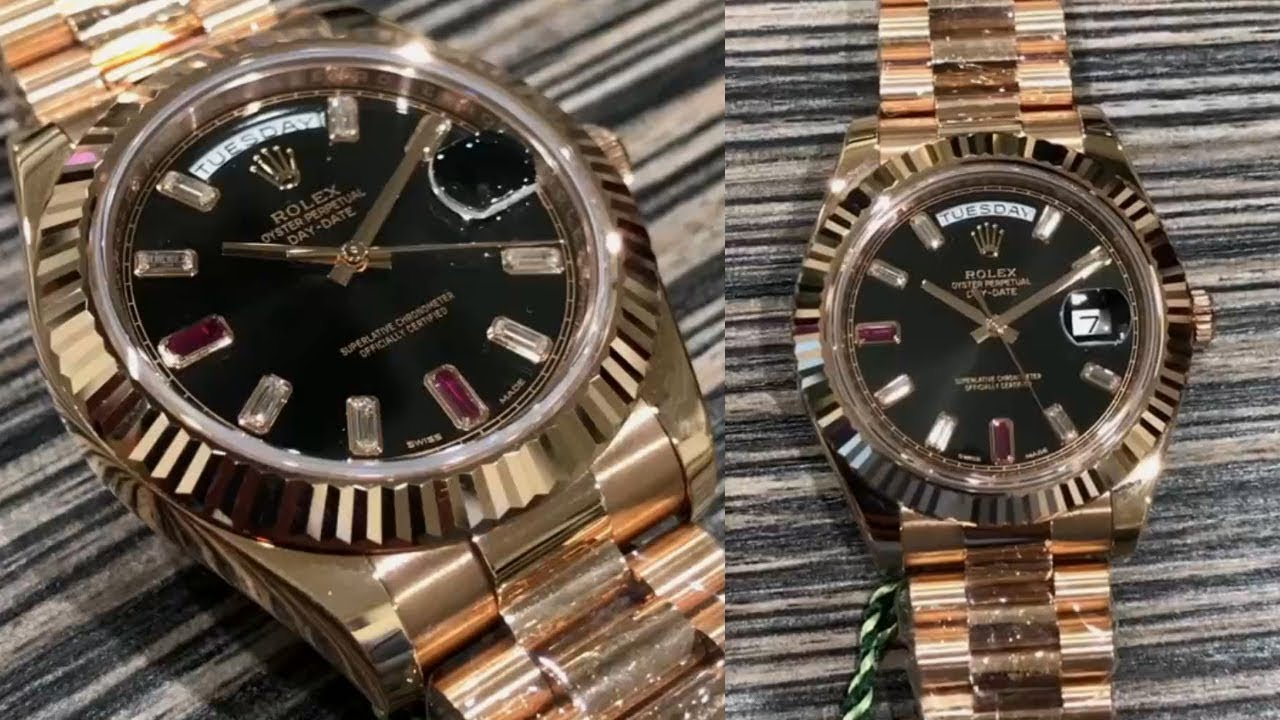 b5a1d806e75 Rolex Day-Date II 218235 Black Ruby and Diamond dial 41 mm Everose gold  Swiss made luxury watch