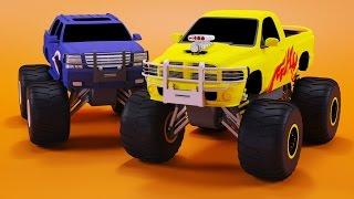 Canavar Kamyon Yarışları Bambo tarafından Çocuklar için çocuklar | Eğitim Videosu için Jambo | Arabalar Çizgi film-