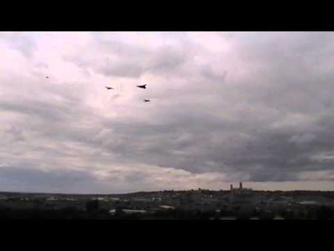 Lancasters & Vulcan fly over Sincil Bank, Lincoln