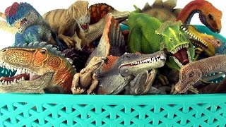 Box of Dinosaurs Schleich Collection - Tyrannosaurus, Spinosaurus in the dinosaur toy box