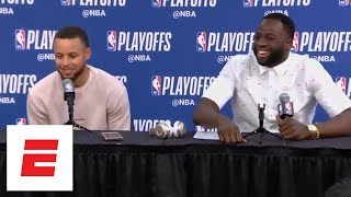 Draymond Green tells Steph Curry to 'toot his horn' during press conference after Game 4 | ESPN