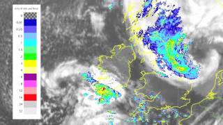 Satellite and rainfall radar showing the weather over the weekend