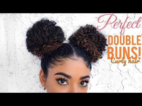 PERFECT DOUBLE BUNS - CURLY HAIR   jasmeannnn