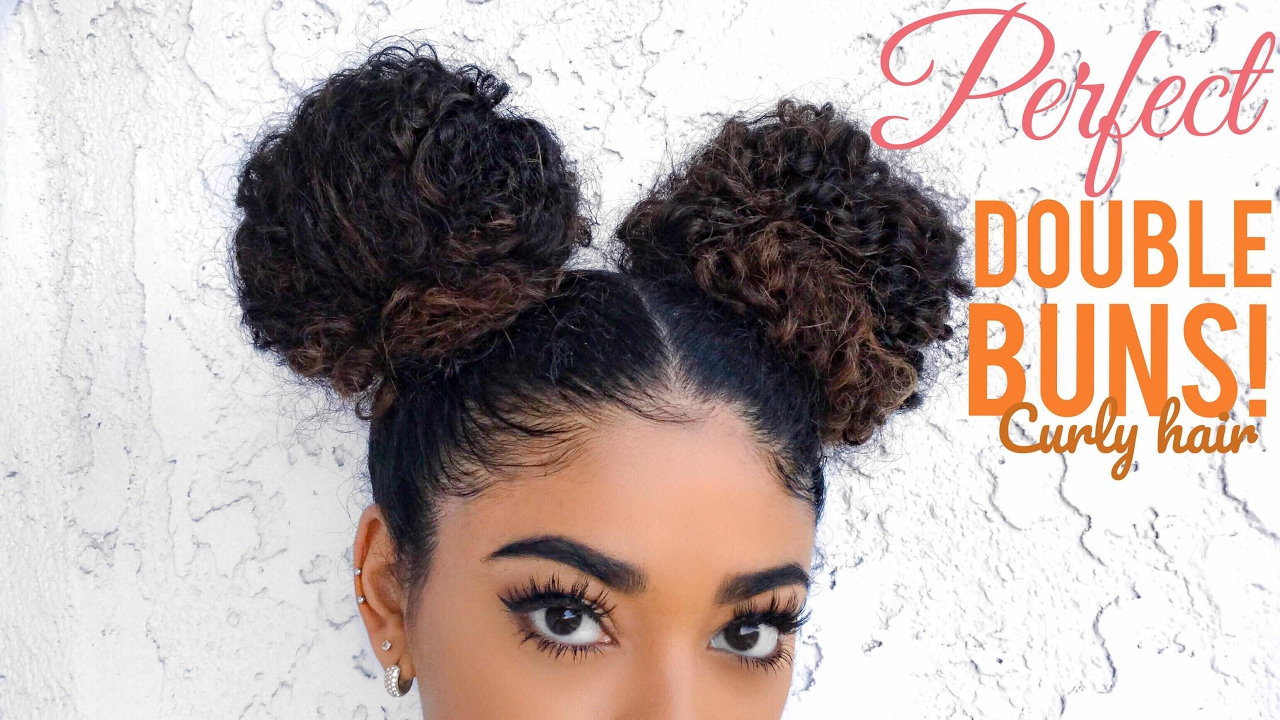 perfect double buns - curly hair