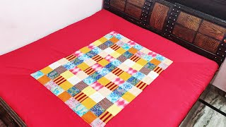 बचे कपड़े से बनायें सुन्दर Bed Sheet || How to make Fancy bed sheets at home cutting and stitching