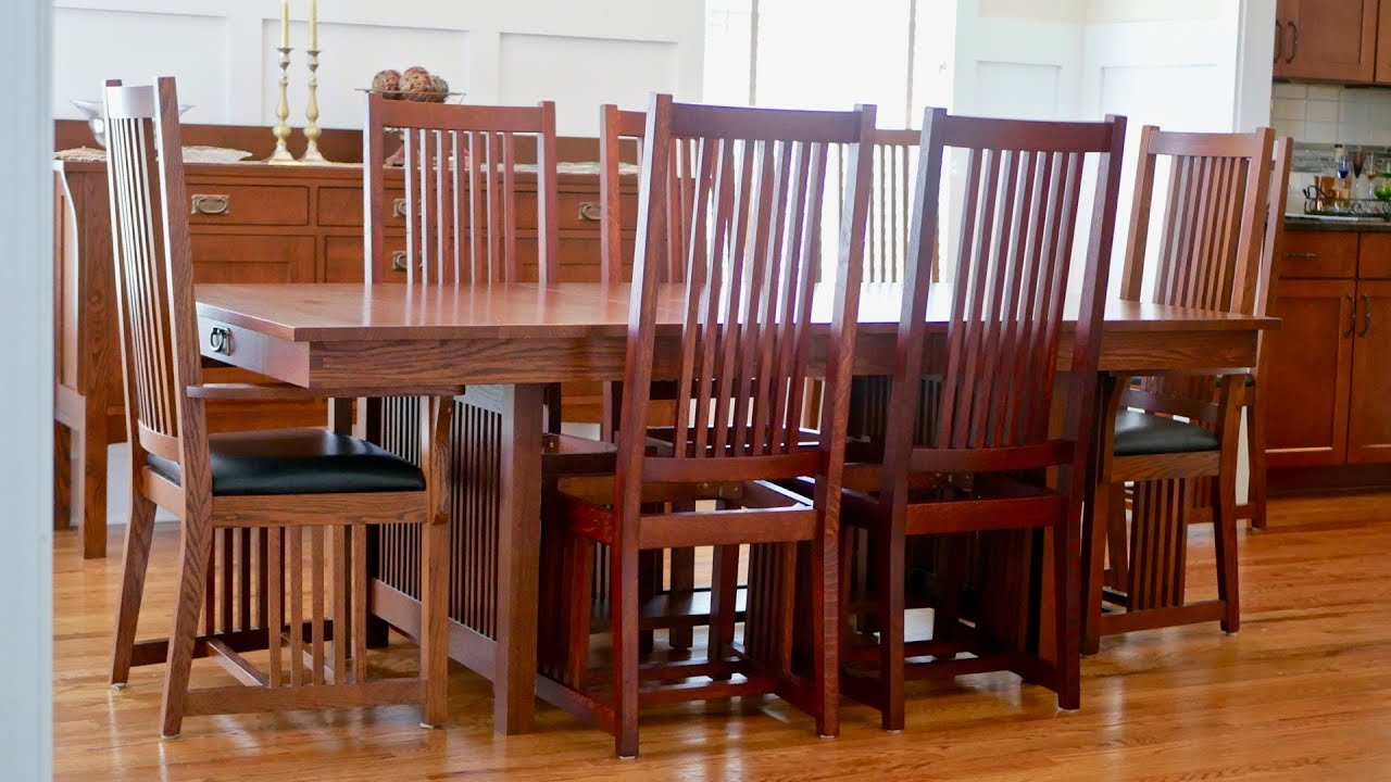 mission style dining chair how to build part 2 arts and crafts style woodworking - Mission Style Dining Table