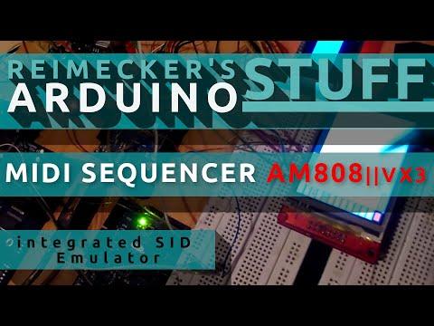 Arduino Midi Sequencer AM808 VX3 - integrated SID Emulator 3 Cores