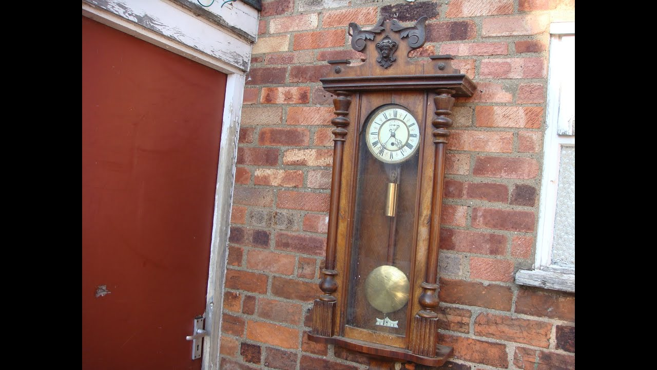 antique old vintage vienna movement for wall clock with key u0026 pendulum see video youtube - Pendulum Wall Clock