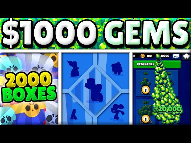 MAXING an ACCOUNT in 15 MINS with $1000! | 20,000 GEMS! | 5 NEW BRAWLERS! | OPENING 2000 BOXES!