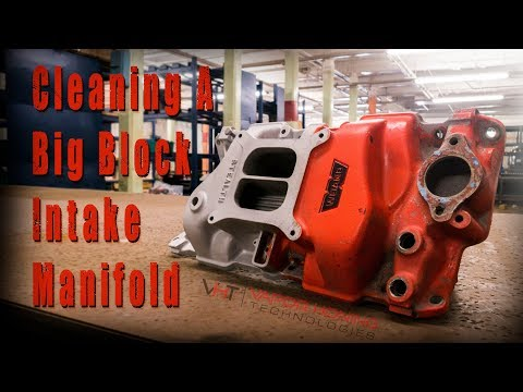 Vapor Blasting Big Block Manifold The fast way to restore and clean off paint or polish. Part 1