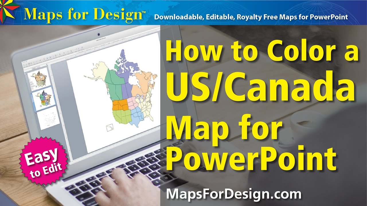 How To Color A USA And Canada Map To Make Sales Territory Maps - Us map color