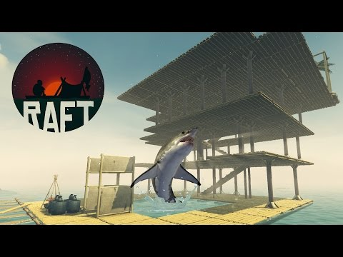 RAFT APARTMENT BUILDING! Raft Becomes a Shark Attacked House Boat + Palm Tree Farm - Raft Gameplay