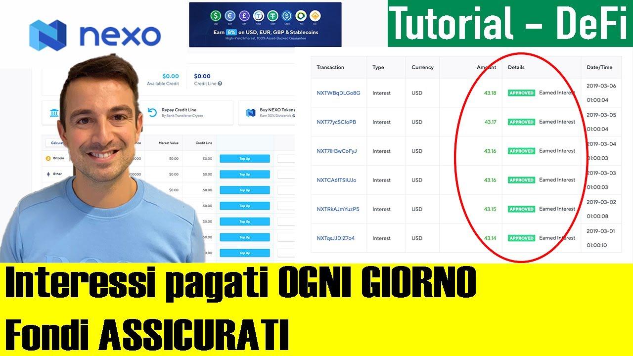 Download NEXO: Guadagna l'8% annuo GARANTITO, con i fondi depositati ASSICURATI