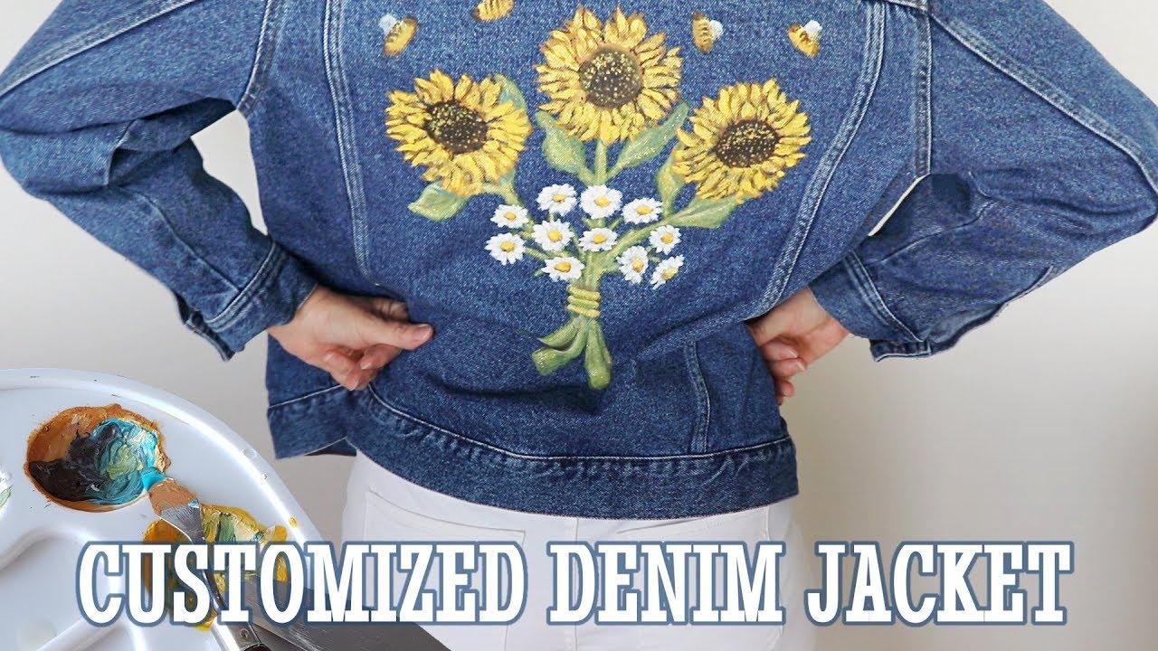Diy Custom Denim Jacket Using Acrylic Paint How To Paint Sunflowers Daisies On Fabric Canvas Youtube