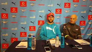 New Blue Bulls captain Nic de Jager and coach John Mitchell ahead of Pumas encounter