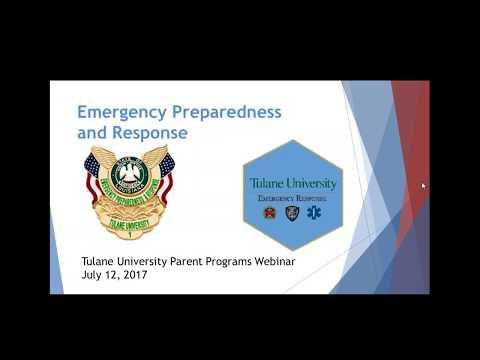 Emergency Response Planning Tulane University Parent Webinar
