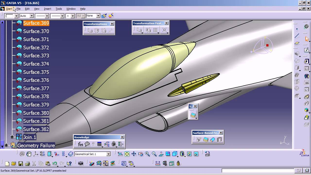 CATIA V5 How to import IGS surfaces into V5 then Thicken