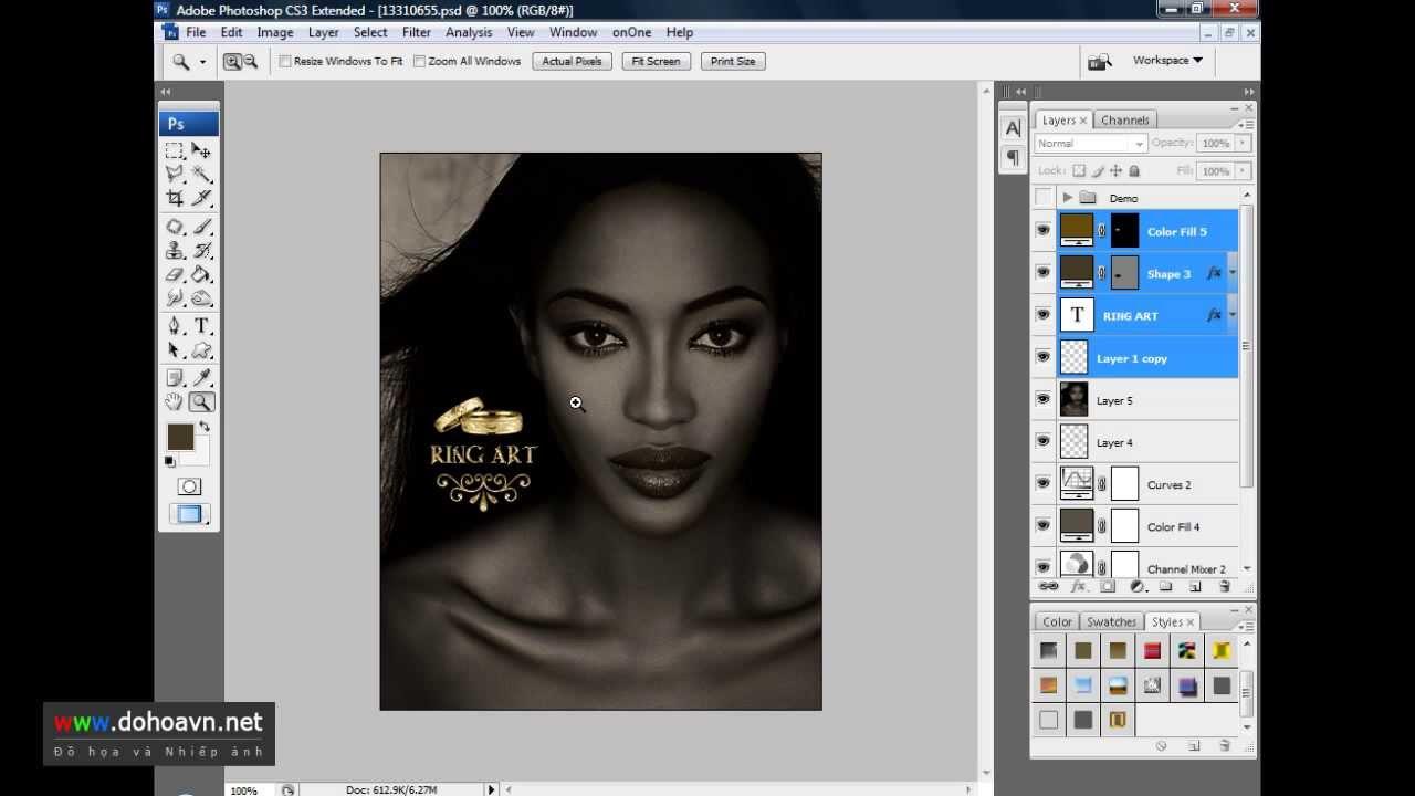 Học photoshop - Hướng dẫn cách phối màu với các sản phẩm trang sức