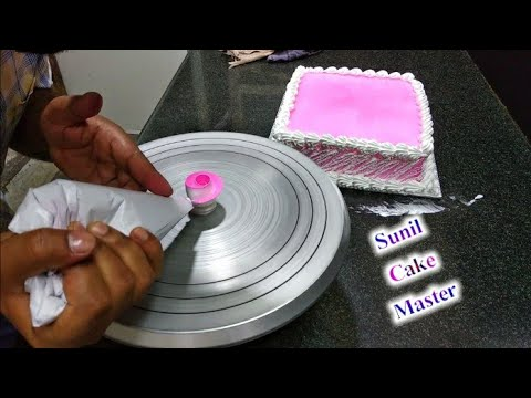 Square Strawberry Flavour Pink Gel Flowers Decoration Making By Sunil Cake Master Fancy Cake