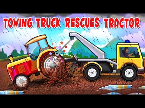 Thumbnail: Monster Towing Truck Videos For Kids | Towing Truck rescues Tractor | Real City Heroes