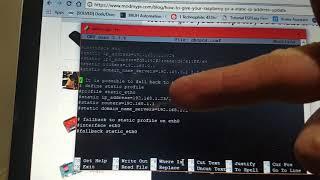 Setting up a static IP address…