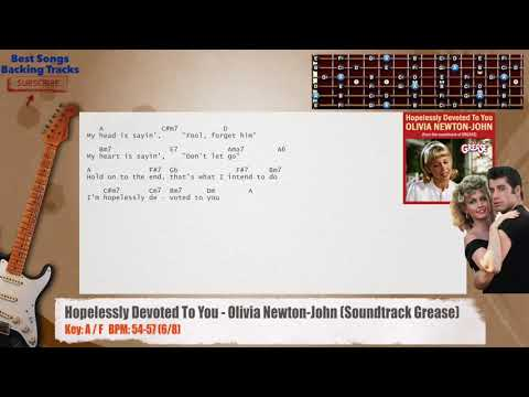 Hopelessly Devoted to You - Olivia Newton John (Grease) Guitar Backing Track with chords and lyrics