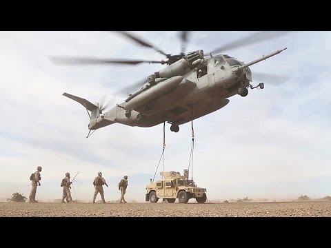 CH-53 Helicopter Air Lifting Super Heavy Military Vehicles
