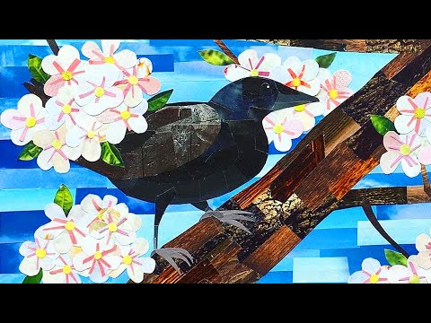 Birds And Blossoms - A Nature Inspired Collage Art Time-Lapse
