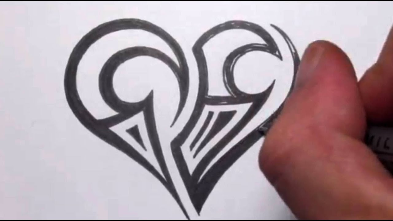 Drawing a Simple Tribal Maori Heart Tattoo Design - YouTube