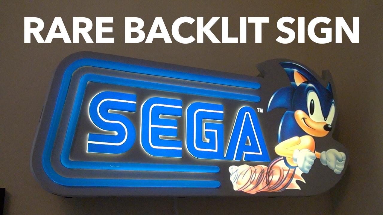 Rare Sega Sonic Backlit Sign   RetroPixel
