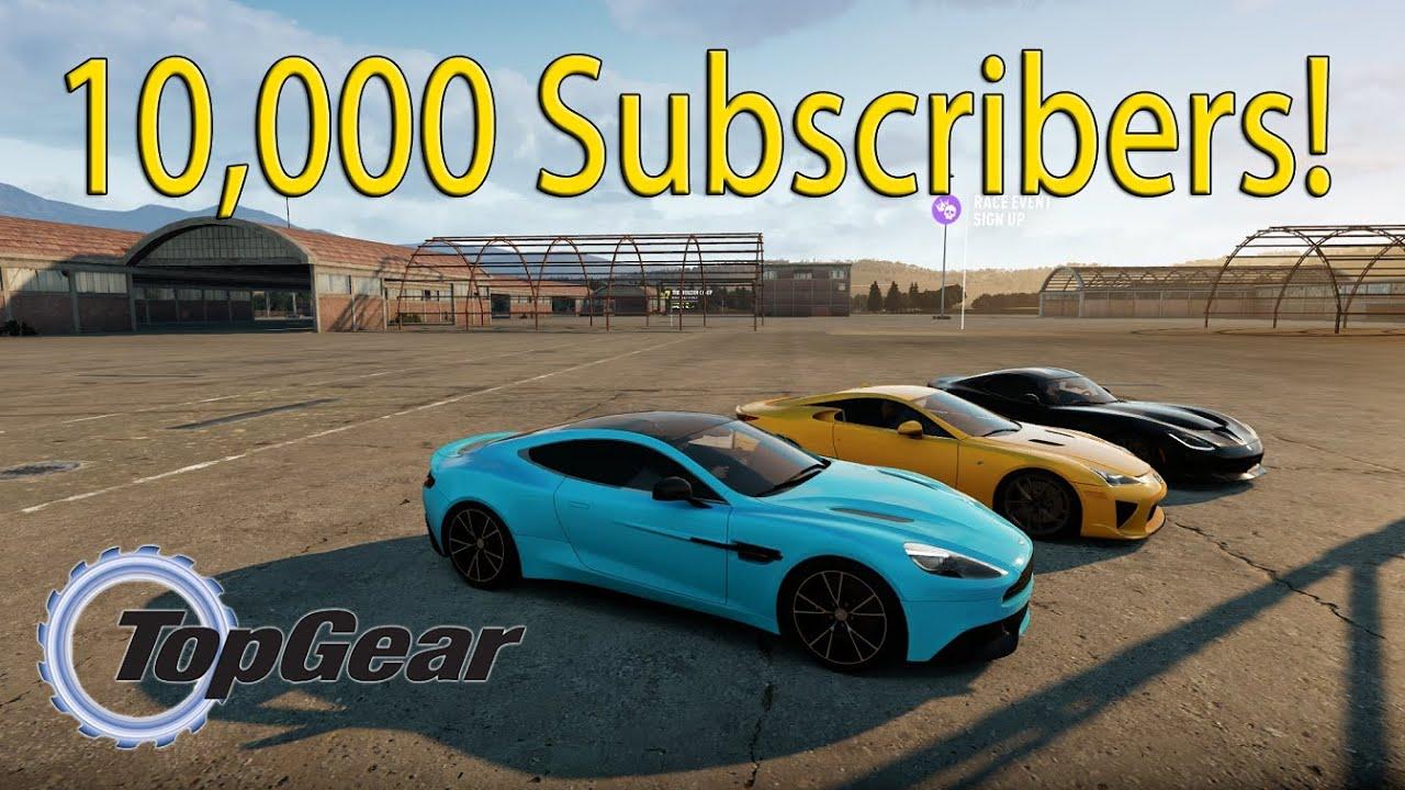 forza horizon 2 10 000 subscribers top gear road trip vanquish lfa viper youtube. Black Bedroom Furniture Sets. Home Design Ideas