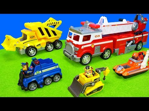 Paw Patrol Ultimate Fire Truck Playset | Toy Vehicles Unboxing Movie For Kids | Police Engine Cars