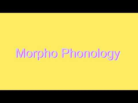 How to Pronounce Morpho Phonology