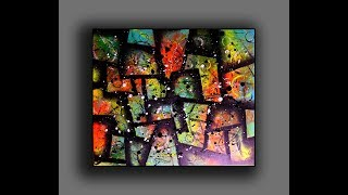 Modern Cubic Abstract Painting | Fun With Acrylics | Creating Texture Surface With Random Tools