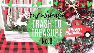TRASH TO TREASURE NO.6🎄RUSTIC FARMHOUSE CHRISTMAS DECOR 2019🎄RED TRUCK DECOR🎄FRIEND COLLAB!