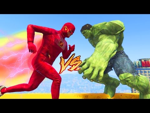 GTA 5 Mods: THE FLASH Vs HULK - GTA 5 Mods Showcase (GTA 5 Mods Gameplay)