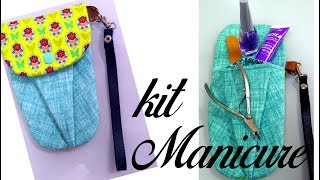 Faça Kit Manicure Porta Alicate de Unha Esmalte e Lixinha
